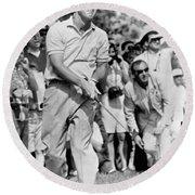 Golfer Arnold Palmer Round Beach Towel by Underwood Archives