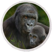 Gorilla And Baby Round Beach Towel by David Stribbling