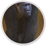 Gorilla The Muscleman Round Beach Towel by Heiko Koehrer-Wagner