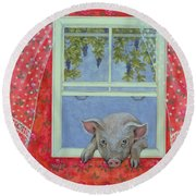 Grapes At The Window Round Beach Towel by Ditz