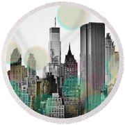 Gray City Beams Round Beach Towel by Susan Bryant