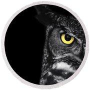 Great Horned Owl Photo Round Beach Towel by Stephanie McDowell