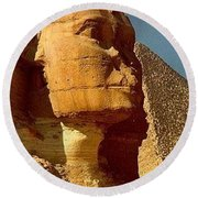 Round Beach Towel featuring the photograph Great Sphinx Of Giza by Travel Pics