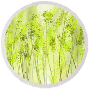Green Abstract Art Round Beach Towel by Lourry Legarde