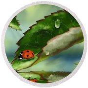 Green Leaf Round Beach Towel by Veronica Minozzi
