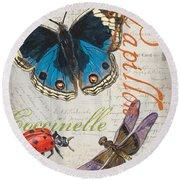 Grey Postcard Butterflies 4 Round Beach Towel by Debbie DeWitt