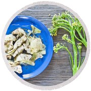 Grilled Artichoke And Brocolli Round Beach Towel by Tom Gowanlock
