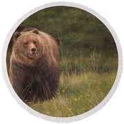 Grizzly Round Beach Towel by David Stribbling