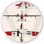 Grumman Hu-16e Albatross Round Beach Towel by Mountain Dreams