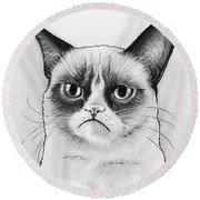 Grumpy Cat Portrait Round Beach Towel by Olga Shvartsur
