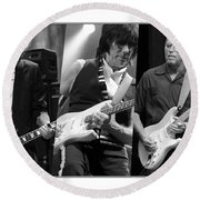 Guitar Legends Jimmy Page Jeff Beck And Eric Clapton Round Beach Towel by Marvin Blaine