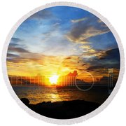 Guitar Sunset - Guitars By Sharon Cummings Round Beach Towel by Sharon Cummings