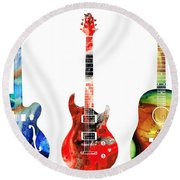 Guitar Threesome - Colorful Guitars By Sharon Cummings Round Beach Towel by Sharon Cummings