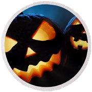 Halloween Pumpkins Closeup -  Jack O'lantern Round Beach Towel by Johan Swanepoel