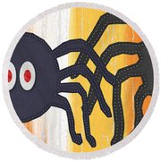 Halloween Spiders Sign Round Beach Towel by Linda Woods