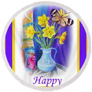 Happy Easter Daffodils Round Beach Towel by Irina Sztukowski