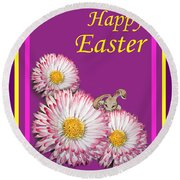 Happy Easter Hiding Bunny Round Beach Towel by Irina Sztukowski