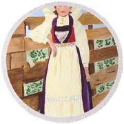 Round Beach Towel featuring the painting Hardanger Girl by Rodney Campbell