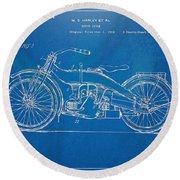 Harley-davidson Motorcycle 1924 Patent Artwork Round Beach Towel by Nikki Marie Smith