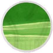 Harmony In Green Round Beach Towel by Linda Woods