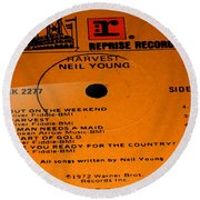 Harvest - Neil Young Side 1 Round Beach Towel by Marcello Cicchini