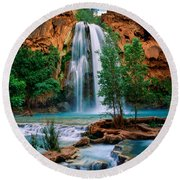 Havasu Cascades Round Beach Towel by Inge Johnsson
