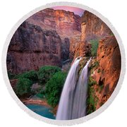 Havasu Falls Round Beach Towel by Inge Johnsson