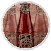 Heinz Tomato Ketchup Round Beach Towel by Dan Sproul
