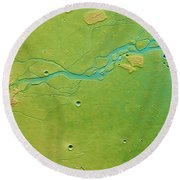 Round Beach Towel featuring the photograph Hephaestus Fossae, Mars by Science Source