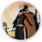 Her And Him Fashion Illustration Round Beach Towel by Georges Barbier