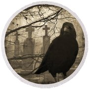 Her Graveyard Round Beach Towel by Gothicolors Donna