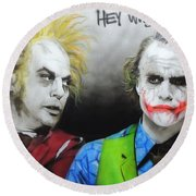 Health Ledger - ' Hey Why So Serious? ' Round Beach Towel by Christian Chapman Art