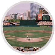 High Angle View Of A Baseball Field Round Beach Towel by Panoramic Images