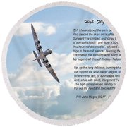 High Flight Round Beach Towel by Pat Speirs