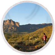 Hiker Standing On A Hill, Phoenix Round Beach Towel by Panoramic Images
