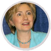 Hillary Clinton Round Beach Towel by Nina Prommer