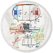Hockey Art - Game Board - Sharon Cummings Round Beach Towel by Sharon Cummings