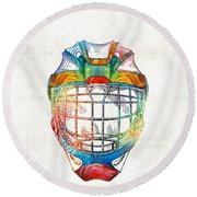 Hockey Art - Goalie Mask Patent - Sharon Cummings Round Beach Towel by Sharon Cummings