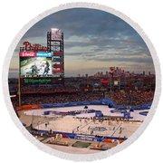 Hockey At The Ballpark Round Beach Towel by David Rucker