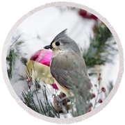 Holiday Cheer With A Titmouse Round Beach Towel by Christina Rollo