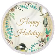 Holiday Wishes II Round Beach Towel by Elyse Deneige
