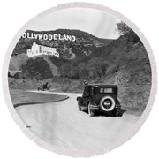 Hollywoodland Round Beach Towel by Underwood Archives