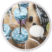 Homemade Blueberry Popsicles Round Beach Towel by Juli Scalzi