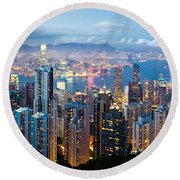 Hong Kong At Dusk Round Beach Towel by Dave Bowman