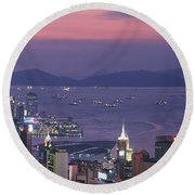 Hong Kong China Round Beach Towel by Panoramic Images