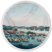 Hong Kong Harbor Round Beach Towel by Cantonese School