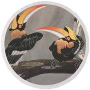 Hornbills Round Beach Towel by Ethleen Palmer