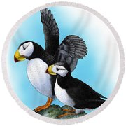 Horned Puffins Round Beach Towel by Roger Hall