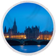 Houses Of Parliament Round Beach Towel by Inge Johnsson