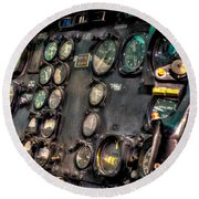 Huey Instrument Panel Round Beach Towel by David Morefield